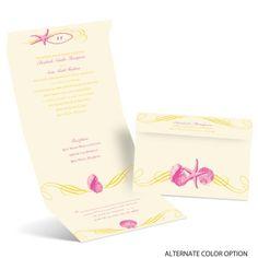 Perfect Waves Ecru Seal and Send Wedding Invitation at Ann's Bridal Bargains