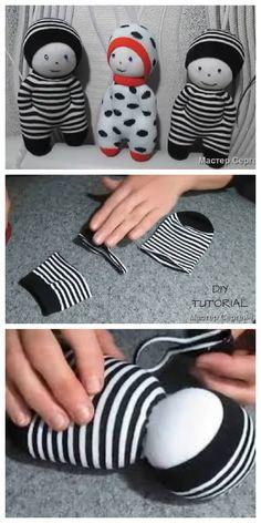 DIY Sock Doll Free Sewing Patterns + Video – Fabric Art DIY - Diy and crafts interests Diy Sock Toys, Sock Crafts, Diy Crafts, Sewing Patterns Free, Free Sewing, Doll Patterns, Bear Patterns, Fabric Dolls, Fabric Art