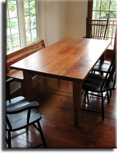 I would love to have furniture and flooring from this craftsman. American Chestnut Farm Table w./ tapered Shaker style leg (hand crafted by Appalachian Woods) Farm Tables For Sale, Farmhouse Table For Sale, Modern Farmhouse, Farmhouse Style, Shaker Furniture, Home Decor Furniture, Wormy Chestnut, Dining Table Legs, Wood Table