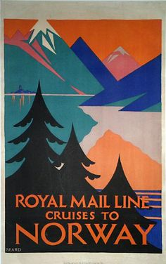 Poster: Royal Mail Line Cruises to Norway Artist: Freda Beard