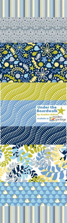 "Under the Boardwalk: A fun, new fabric collection by @Heather Dutton for Modern Yardage, just $16.75 per 56"" wide yard"