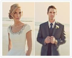 Lovely lovely modest wedding dress with jeweled neckline1