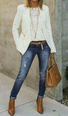 beyaz ceket jeans kombi