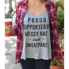 Proud Supporter Of Messy Hair Gray Tank