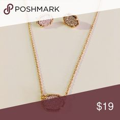 Pink & Gold Druzy Jewelry Set Silver & Gold Druzy Necklace & Earring Set. Makes the Perfect Gift. NWT & Ships in Original Packaging.   All items come from a smoke free home and are shipped on the same or following day an order is placed.   Reasonable offers are considered and often accepted. Deals on bundles are also available. Jewelry Necklaces