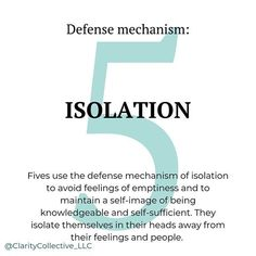 Defense mechanisms are used to avoid the experience that is most painful for each type. Personality Psychology, Intj Personality, Personality Characteristics, Relationship Psychology, Mbti, Infj, Introvert, Type 5 Enneagram, Interpersonal Relationship