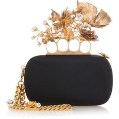 Alexander Mcqueen Butterflies Satin Clutch (£1,470) ❤ liked on Polyvore featuring bags, handbags, clutches, alexander mcqueen, clasp purse, alexander mcqueen purse, flower handbags and floral purse