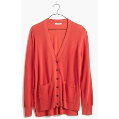 MADEWELL Spring-Weight Cardigan Sweater (92 AUD) ❤ liked on Polyvore featuring tops, sweaters, coastal orange, long tops, long cotton sweaters, layered tops, red sweater and lightweight sweaters