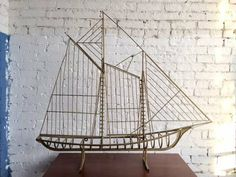 Mid Century Brass Ship Sculpture by Curtis Jere