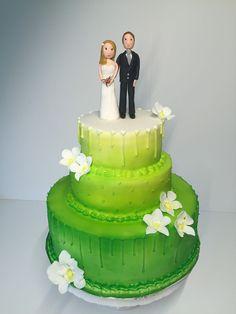 Wedding cake orchid green wedding couple, Hochzeitstorte grün, Orchideen