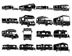 16 RV Motorhome Travel Trailer Clip Art Images