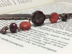 Copper feather bookmark with red beads Bookmarks, Feather, Cufflinks, Copper, Stud Earrings, Beads, Accessories, Jewelry, Beading