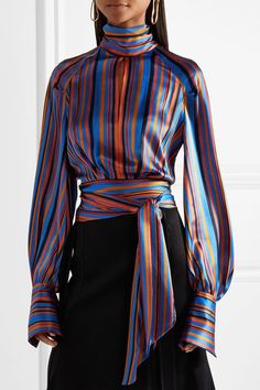 Petar Petrov | Open-back striped silk-satin wrap blouse | - #blouse
