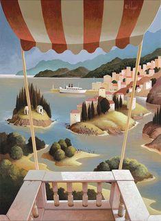 110 x 80 cm House Landscape, Landscape Art, New Fine Arts, Dutch Painters, New View, Art Boards, Illustrators, Perspective, Patio