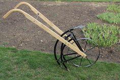 Garden Cultivator | Wooden Handles | Plow Flips Over to Cultivator