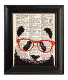 PANDA Bear Wearing Glasses ORIGINAL Art Hand Painted Mixed Media Print Illustration on Antique 1930's English Dictionary Book Page 8x10. $10.00, via Etsy. << so neat!