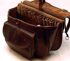 Antique hunting cartridge leather bag vintage S0150