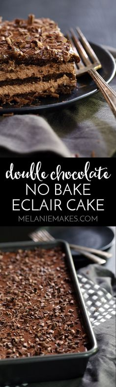 Layers of chocolate graham crackers, chocolate pudding and whipped topping create a rich and decadent no-bake Double Chocolate Eclair Cake that you can prepare in just 10 minutes. Even better? A quick and easy take on chocolate ganache that tops the entir
