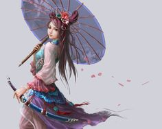 Fantasy Digital Paintings : Chinese artist Guangjian Huan is quite popular for his digital paintings and oriental fantasy characters. His fantasy characters can be seen in many Chinese games. Fantasy Girl, Fantasy Anime, Chica Fantasy, 3d Fantasy, Fantasy Kunst, Fantasy Warrior, Warrior Girl, Character Concept, Character Art