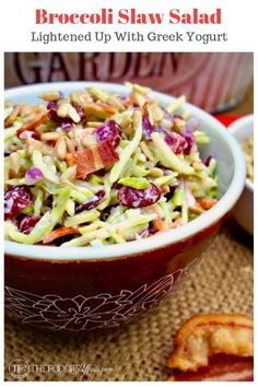 This favorite potluck broccoli slaw salad got a makeover! Lightened up dressing and instead of using broccoli florets, shredded broccoli slaw is used in this dish! #broccoli #slaw #bbq #salad #lowcarb   www.thefoodieaffair.com
