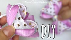 Amazing Ribbon Bow - Hand Embroidery Works - Ribbon Tricks & Easy Making Tutorial - Free Online Videos Best Movies TV shows - Faceclips Diy Lace Ribbon Flowers, Ribbon Flower Tutorial, Hair Bow Tutorial, Ribbon Hair Bows, Diy Hair Bows, Diy Bow, Diy Ribbon, Ribbon Crafts, Fabric Flowers