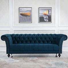 Traditionally inspired, the Chester sofas features beautiful button detailing in an elegant shape with gentle curves and thick, bouncy cushions. The Cheste Velvet Furniture, Blue Furniture, Sofa Furniture, Corner Sofa Design, Unique Sofas, Sofa Dimension, Three Seater Sofa, Furniture Catalog, Fabric Sofa