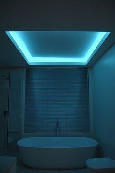 Bathroom Lighting Ideas For your Home Using RGB Lumilum Strip Light. Led light bathroom ambient www. Led Lighting Home, Cove Lighting, Strip Lighting, Interior Lighting, Lighting Ideas, Lighting Logo, Lighting System, Mood Light, Light Led