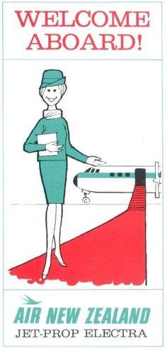 Welcome Aboard! Air New Zealand * Jet-Prop Electra 1960 #travel #ephemera