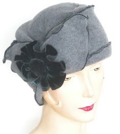 Turban Flapper Hat,    Grey Polar Fleece Ladies Cloche Hat ,  Velvet Flower,  Brooke
