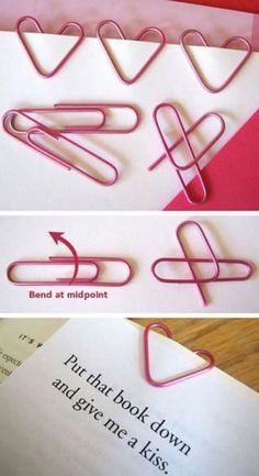 Make your own heart bookmark DIY Heart Bookmark Adult Crafts, Fun Crafts, Diy And Crafts, Paper Crafts, Diy Paper, Paper Pin, 5 Min Crafts, Kawaii Crafts, Paper Toys