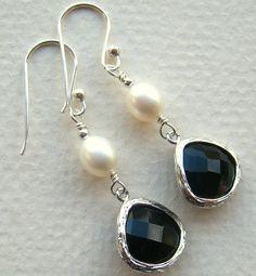 Classy Black Pearl Earrings