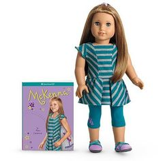 Buy New: $239.00: Toy: American Girl of the Year 2012 McKenna Doll & Book: The McKenna doll comes in a sporty outfit just right for flips and twists: A sporty striped dress with flutter sleeves, a dropped waist, and a pleated skirt Teal leggings that stretch for the splits! Strappy slide-on shoes Purple cotton underwear A hairband, to sweep her hair back during gymnastics practice