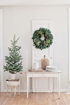 Festive Christmas decor in a minimal beach rustic style home
