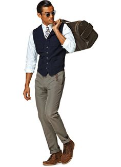 Navy cotton/linen waistcoat from Suit Supply.