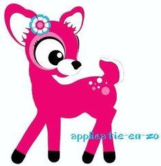applicatie en zo: WHAZZ full color strijkapplicatie roze hertje