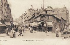 rue Lepic - Paris 18e - La rue Lepic vers 1900 (ancienne carte postale). Paris 1900, Old Paris, Vintage Paris, Paris France, Montmartre Paris, Paris Rue, Old Pictures, Old Photos, Paris Black And White