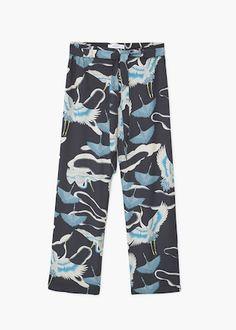 Струящиеся брюки с принтом | MANGO МАНГО