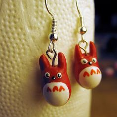 Polymer clay red Valentines Day inspired Totoro earrings by AnniCrafting on Etsy