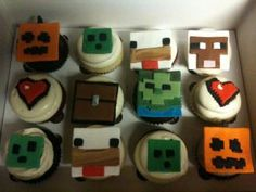 Minecraft cupcakes Boy Birthday, Birthday Ideas, Birthday Cake, Minecraft Cupcakes, Fun Cakes, Cake Designs, Amazing Cakes, Party Time, Good Food