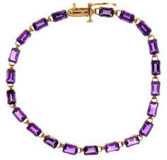 Jewelmak 14k Rose Gold Emerald Cut 11.00 Carat Amethyst 7.25 Inch Bracelet