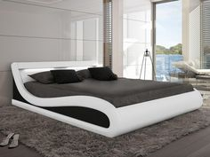 Cama con LEDs ZALARIS - 160x200 cm - Piel sintética blanca