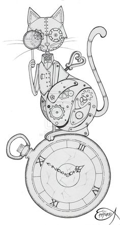 Clockwork Drawing Steampunk clockwork cat wip by
