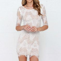 White Lace Retro Slim Backless Bodycon Dress Casual Dress | Herefind.it