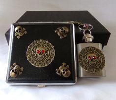 Cigarette Case  Mini Flask Key Ring Gift Set Artisan Designed