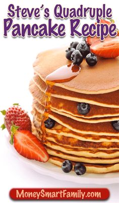A healthy, delicious and easy to make big batch recipe of pancakes. Add fresh fruit, chocolate chips or marshmallows to make it decadent and fun for kids.