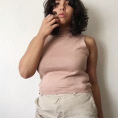 Nude pink crop top This nude pink crop top would be the cutest edition to your closet! The fit is beautiful and the touch of the mini turtle neck makes any outfit 10x classier. (The material however is a little itchy) Tops Crop Tops