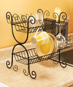black wrought iron dish rack | BLACK-Wrought-Iron-2-Tier-Dish-Rack-Kitchen-Cutlery-Basket-Metal ...