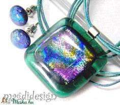 Türkizes szivárvány üvegékszer szett nyaklánc, pötty fülbevaló (magdidesign) - Meska.hu Pendant Necklace, Jewelry, Fashion, Moda, Jewlery, Jewerly, Fashion Styles, Schmuck, Jewels