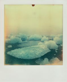 Jökulsárlón, Iceland.    Polaroid SX-70 with PX-70 color shade cool. Taken by Alexandra Roberts. http://pinterest.com/alexandraphoto/