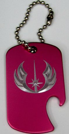 "Star Wars Jedi Baby Pink Key Chain 4"" Chain Dog Tag Aluminum Bottle Opener LEN-0346"